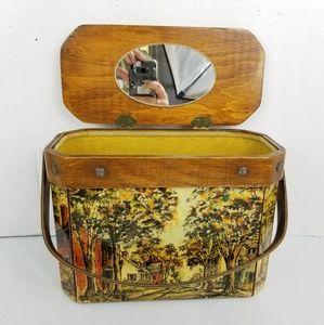 Antique Wooden Handbag w/Mirror Decoupage
